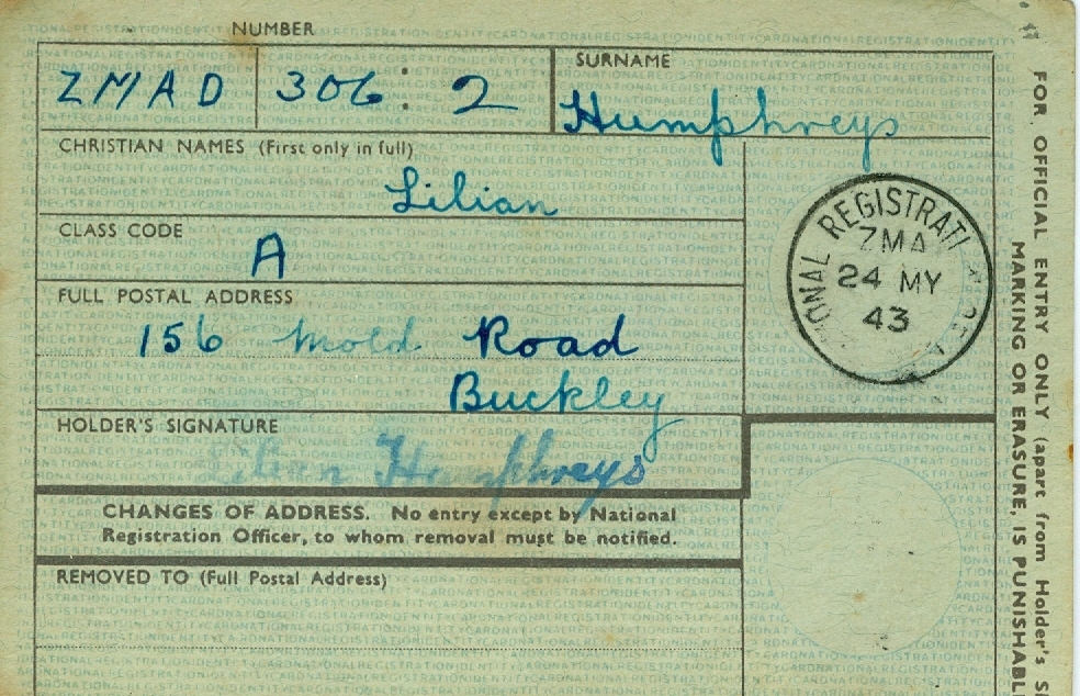Lilian Humphreys' National Registration Identity Card